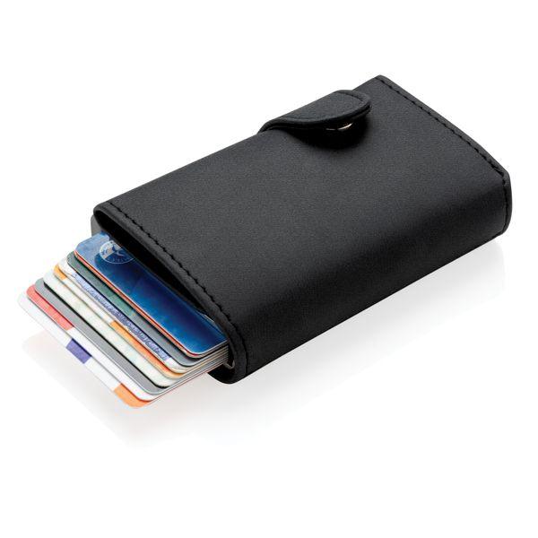 Porte-cartes anti RFID en aluminium et PU, Objet personnalisable, comité social économique