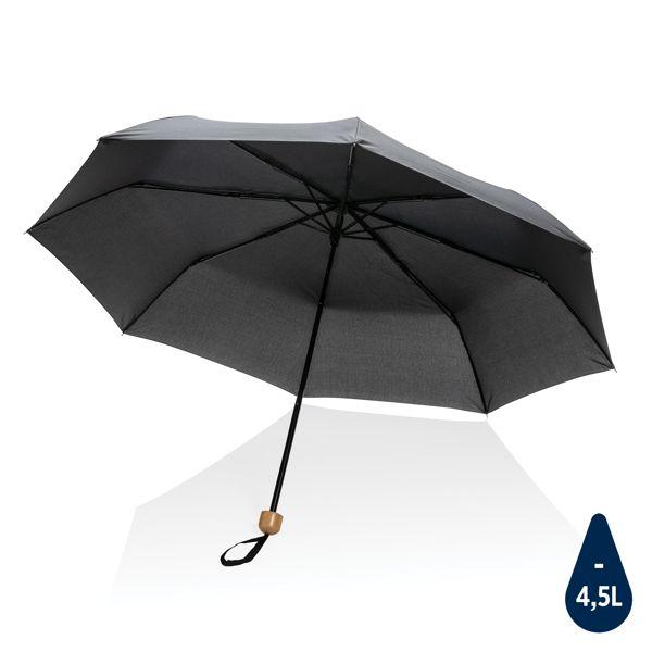 """Mini parapluie 20.5"""" rPET 190T poignée bambou Impact AWARE™, Objet personnalisable, comité social économique"""