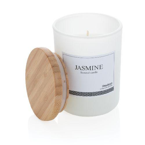 Bougie parfumée avec couvercle en bambou Ukiyo, Objet personnalisable, comité social économique