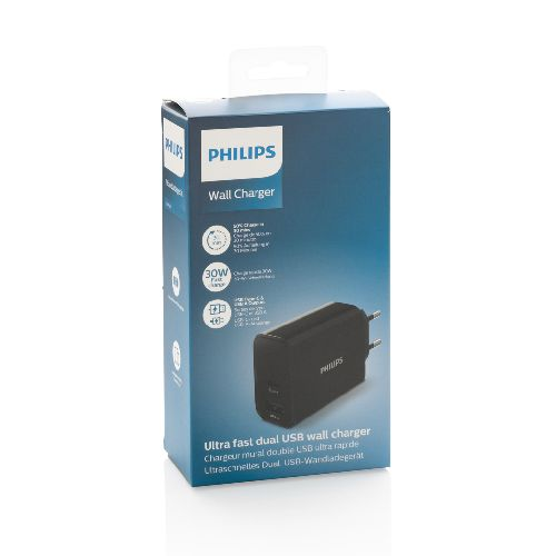 Chargeur Mural Philips, USB 30W Ultra Rapide
