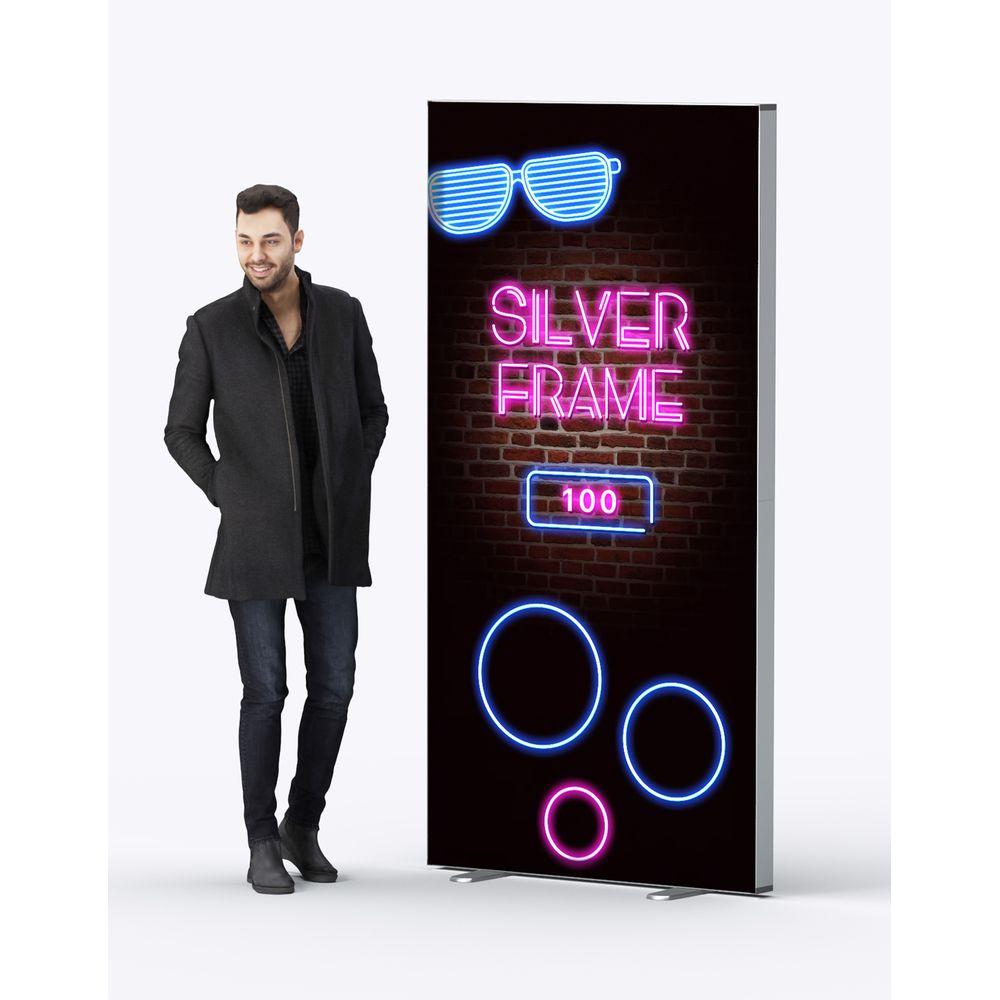 Box lumineuse en aluminium 100 x 200 cm