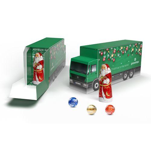 CALENDRIER DE L'AVENT LINDOR CAMION personnalisable avec un chocolat père Noël