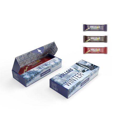 LA BARRE VOLLGAS Myrtille, Coca , Cerise dans un carton personnalisable