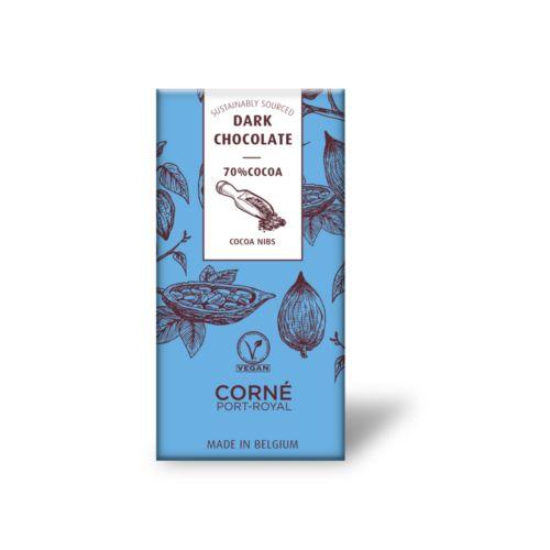 Tablette noir morceaux de fève de cacao