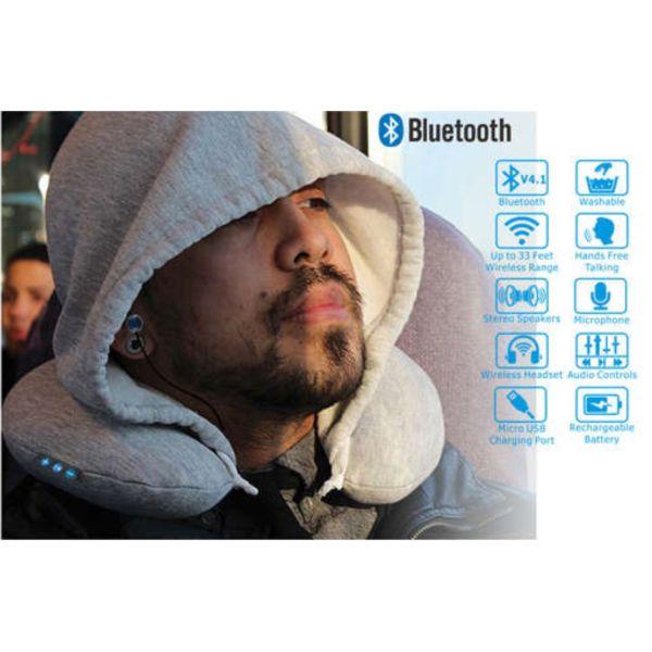Coussin de voyage gonflable / écouteurs bluetooth personnalisé NOUVEAUTÉ goodies objets publicitaires