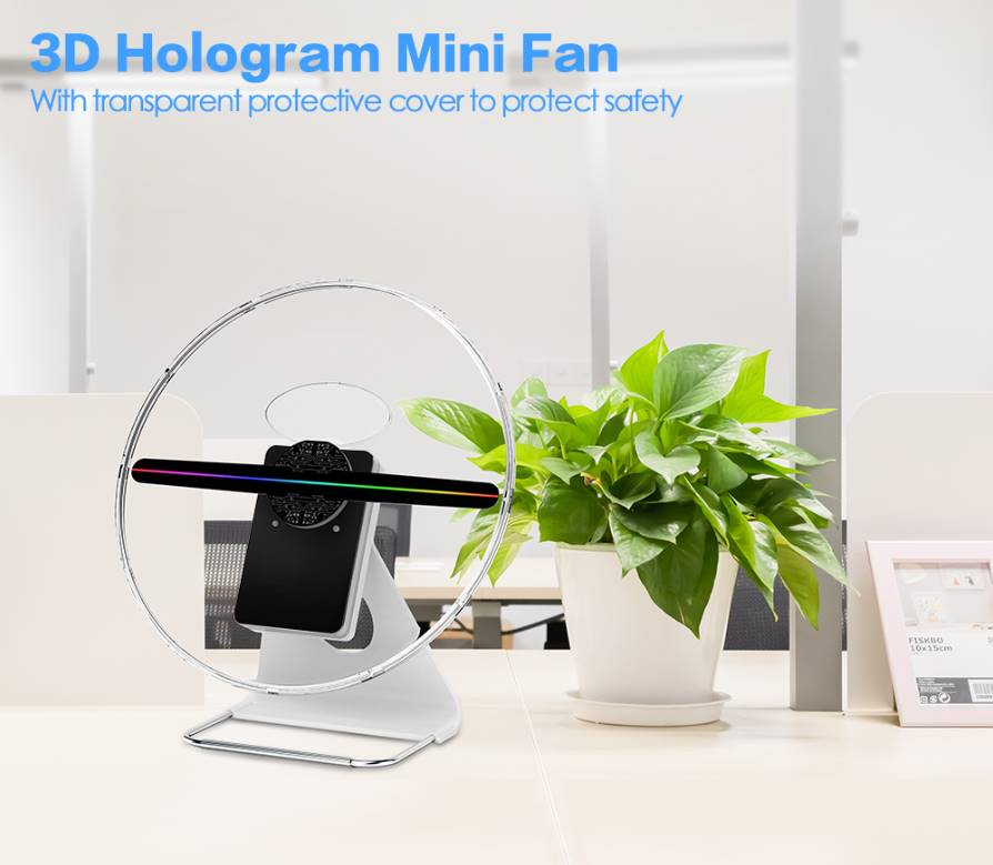 Mini hélice holographique avec couvercle transparent de protection personnalisé NOUVEAUTÉ goodies objets publicitaires