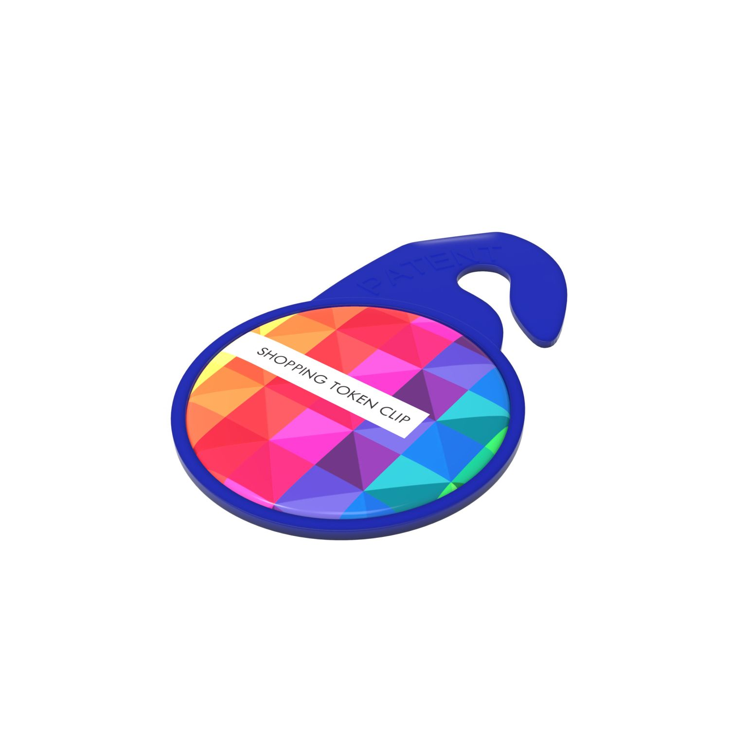 Key Ring Shopping Token Clip Bleu avec doming quadri