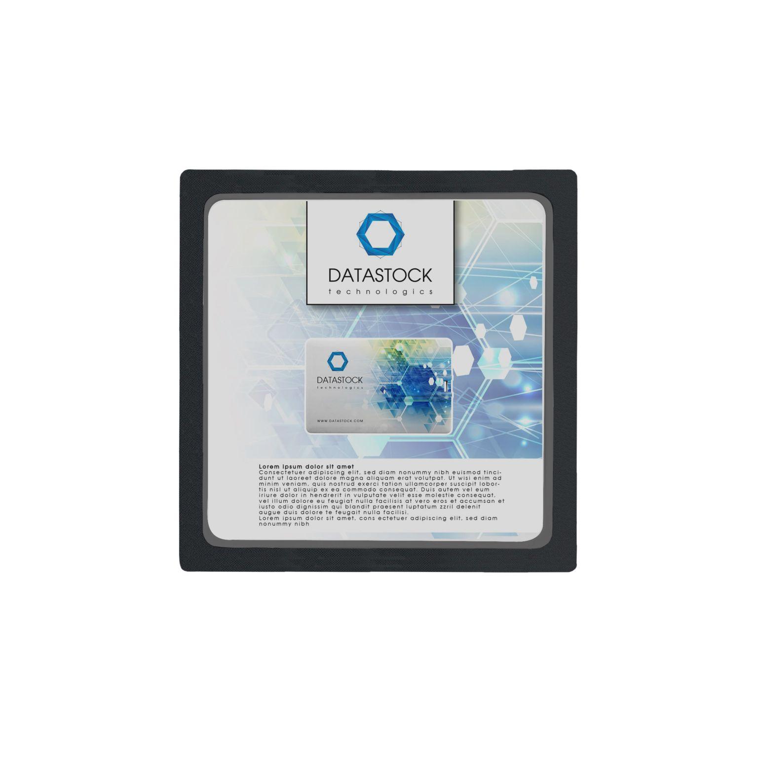 Gift Box Frame with inlay 11 x 11 x 2 cm with inlay Noir avec impression quadri