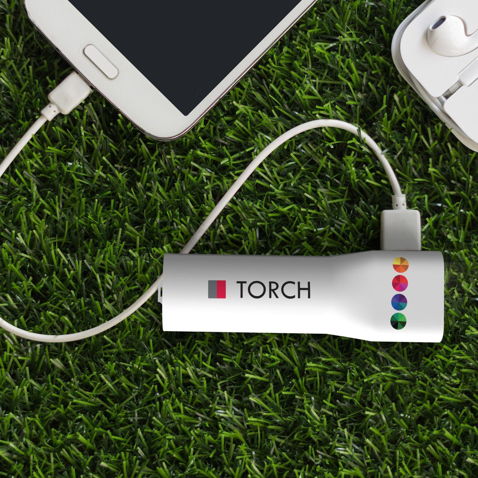 Powerbank Torch 2200 mAh Blanc avec impression quadri