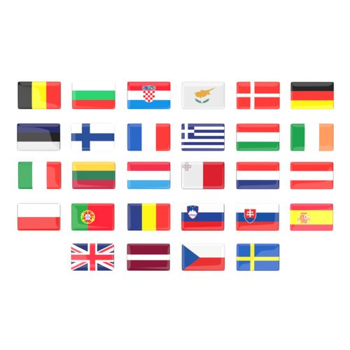 EU Flag Doming Stickers  Toutes couleurs possibles avec doming quadri
