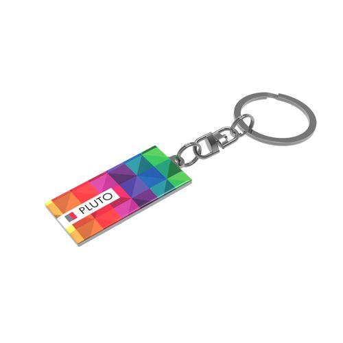 Key Ring Pluto Rectangular Toutes couleurs possibles avec doming quadri publicitaire à personnaliser aux couleurs de votre société !