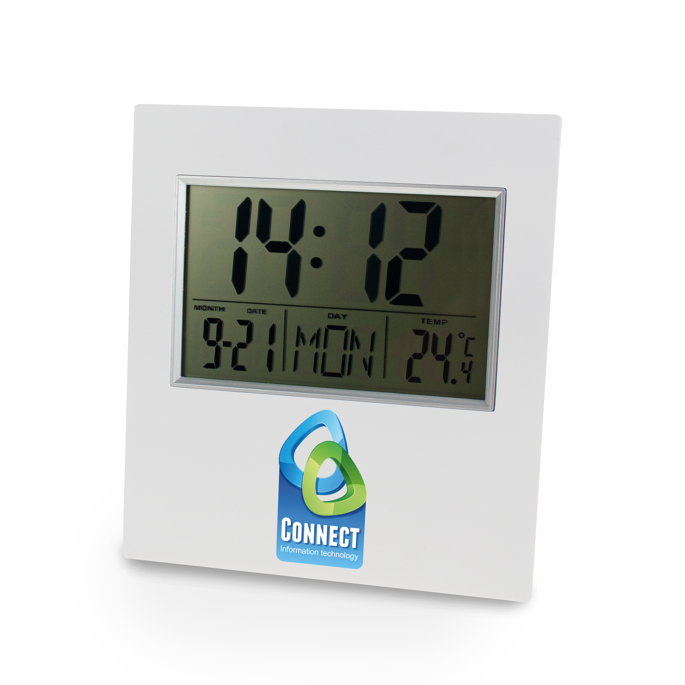 Digital Clock Blanc avec impression quadri