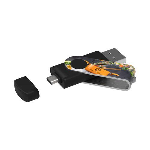 USB Stick Twister-C 3.0 Max Print 64 GB Premium Noir avec impression quadri