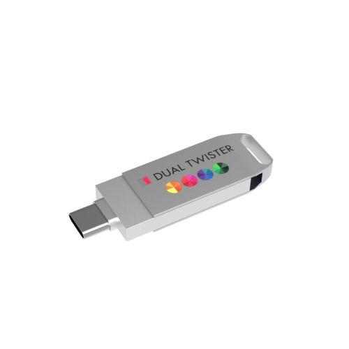 USB Stick Dual Twister 3.0 64 GB Premium Argent avec impression quadri