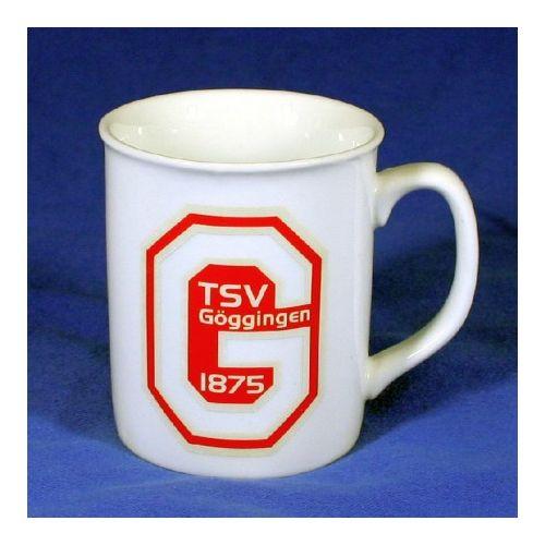 Tasse, Porzellan, Becher eckiger Henkel 8,2 x 9,5 cm