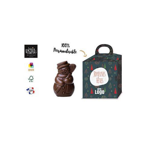 Moulage Bonhomme de Neige 50g chocolat noir 70% Bio